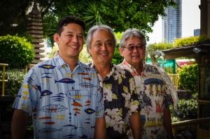 Chef Jason Takemura, Arnold Hiura and Derek Kurisu. Photo by Eloise Hiura.