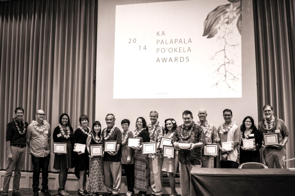 2014 Ka Palapala Po'okela Award winners, with HBPA president David DeLuca and ceremony emcee Howard Dicus.
