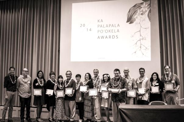 2014 Ka Palapala Po'okela Award winners, with HBPA president David DeLuca and ceremony emcee Howard Dicus.